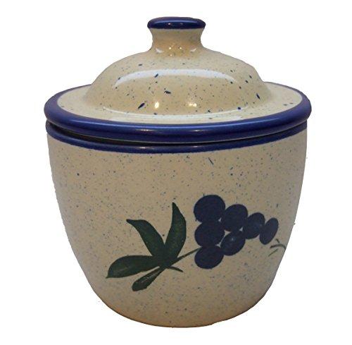 Cooks Innovations Ceramic Garlic Keeper - Hand Painted With Decorative Grape Leaf Design - Blue & Cream