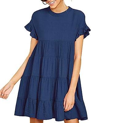 Joteisy Women's O Neck Ruffle Short Sleeve Tiered Casual Mini Dress
