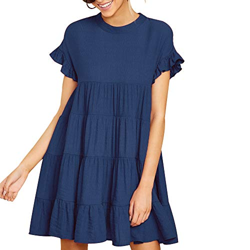Joteisy Women's O Neck Ruffle Short Sleeve Tiered Casual Mini Dress (L, Navy Blue)