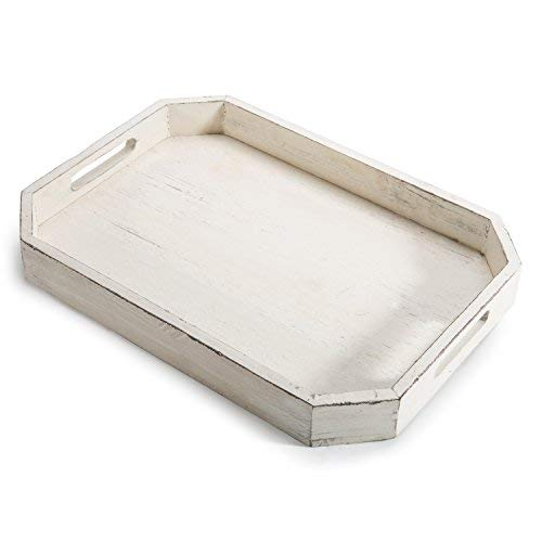 MyGift Rustic Whitewashed Wood Serving Tray with Cut-out Handles and Angled Edges by MyGift