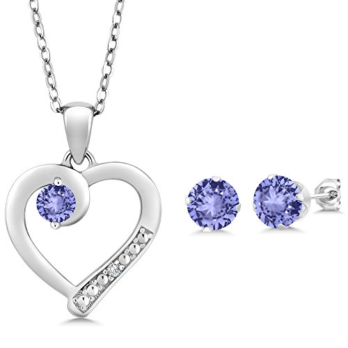 2.12Ct Blue Tanzanite Accent Diamond 925 Sterling Silver Pendant Earring Set 18'' by Gem Stone King
