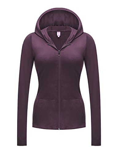 REGNA X NO BOTHER Women's Full Zip Running Performance Plus Size Hoodie Jacket, Purple