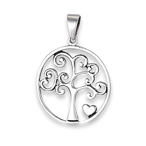 (Swirl Tree of Life Pendant .925 Sterling Silver Scroll Filigree Heart Charm Jewelry Making Supply Pendant Bracelet DIY Crafting by Wholesale Charms)