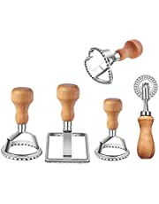 Ravioli Stamp Maker Cutter with Roller Wheel Set, Mold with Wooden Handle and Fluted Edge, Pasta Press Kitchen Attachment