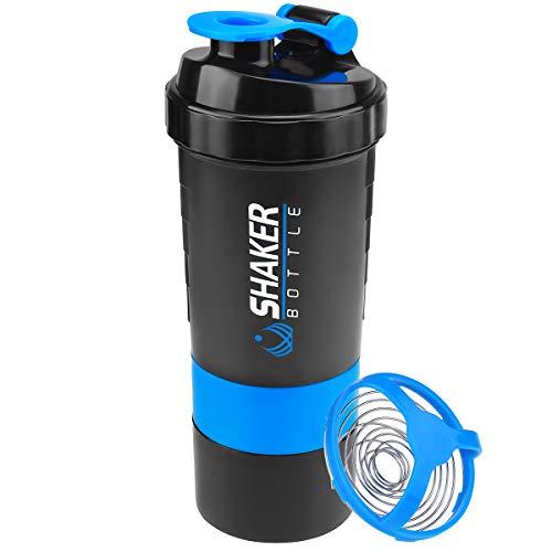 VIGIND 22 OZ Protein Shaker Bottle with 3-Layer Twist and Lock Storage, 100% BPA-Free Leak Proof Fitness Sports Nutrition Supplements Non-Slip Mix Shake Bottle (Blue)
