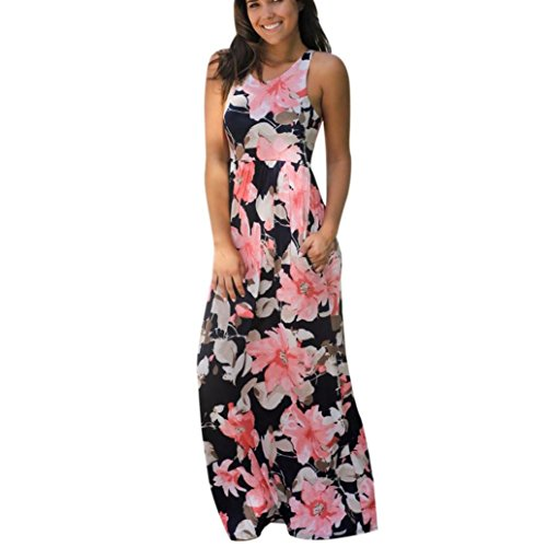 Maxi Dresses for Womens, FORUU Sleeveless Floral Printed Long Dress with Pockets