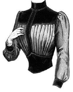 1887 Corsage with Velvet Yoke & Bodice Pattern ()
