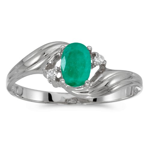 0.31 Carat (ctw) 10k White Gold Oval Green Emerald and Diamond Bypass Swirl Cocktail Anniversary Fashion Ring (6 x 4 MM) - Size 10 ()