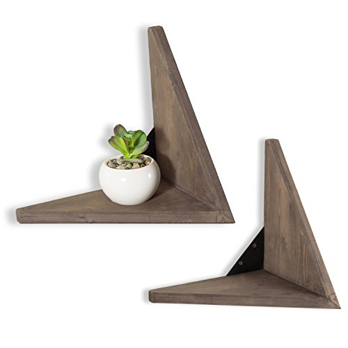 (MyGift Set of 2 Rustic Wood Wall Mounted Decorative Floating Shelves, V-Shaped Display Rack)