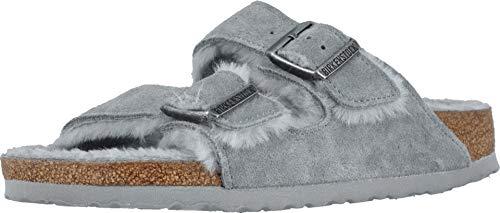 Birkenstock Womens Arizona Shearling Dove Gray/Dove Gray Slipper - 37 NAR (Grey Birkenstock Sandals Women)