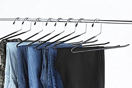 4 Pant Hangers+2 Hanger Hooks YGZN Perchas para Pantalones de Acero Inoxidable,Ahorran Espacio Antideslizante Barras de Columpio para Vaqueros Bufandas Corbatas con 4 Pinzas port/átiles