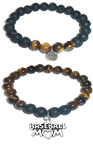 Hidden Hollow Beads Charm Tigers Eye and Black Lava Natural Stone Women's Yoga Beaded Stretch Bracelet Set. COMES IN A GIFT BOX! (Baseball Mom)