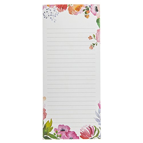 Erase Dry Flower Board (Graphique Rose Floral Magnetic Notepad, Classic Blooming Flower Background & 2 Magnets to Hang on Refrigerator or Whiteboard, 100 Lined Sheets, 4