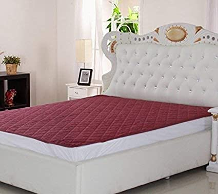 Amer Handicraft Home Care Waterproof Double Bed Mattress Protector King Size (Size: 72X78) (Red)