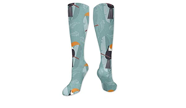 Toucans Pattern Blue Background Compression Socks For Women 3D Print Knee High Boot