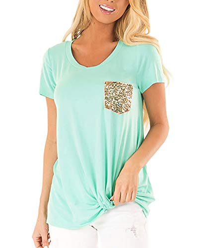 Yidarton Women's Comfy Short Sleeve Twist Knot Tops Blouses T Shirts(#23 MGR,l)