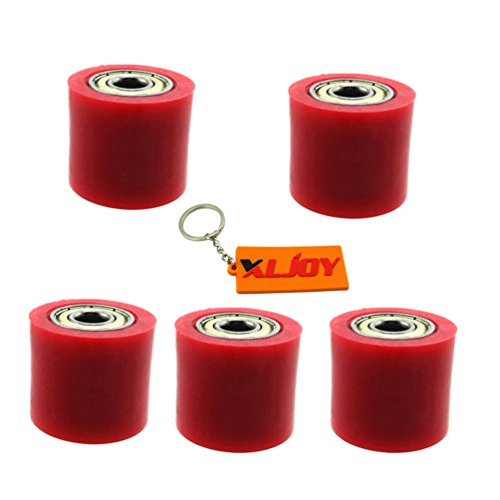 XLJOY 5 pcs 8mm Rubber Chain Roller Wheel Tensioner Pulley For Chinese Pit Dirt Bike 50cc-160cc(Red) by XLJOY (Image #1)