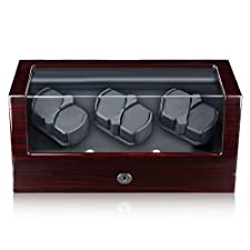 Excelvan Automatic Watch Winder Wooden Box Piano Paint with 4 Rotation Modes