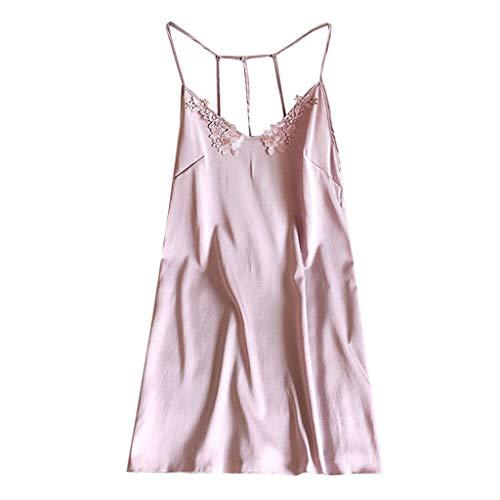 BYHBU Women's Sexy Nightdress Lingerie Pajamas Sexy Top Sling Pajamas Pink