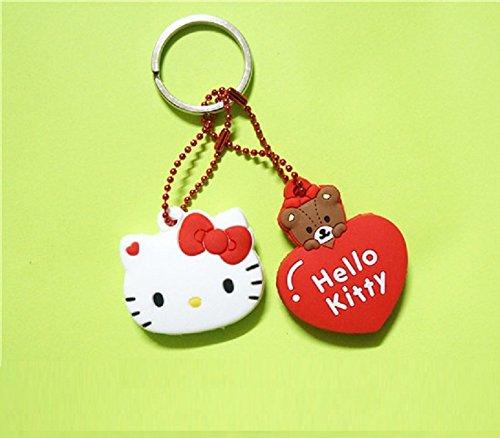 CJB Lovey Hello Kitty Keychain Plastic Sleeve Cap Set of 2 Head Heart Red (US Seller)