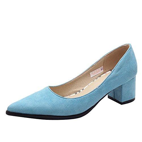 Carolbar Femmes Bout Pointu Sexy Bureau Dame Mi-talon Robe Chaussures Bleu 53eb81b1662c