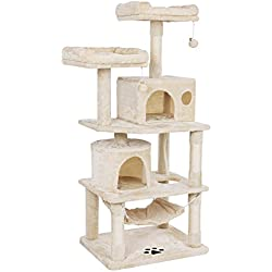 BEWISHOME Cat Tree with Sisal Scratching Posts, 2 Condos, Plush Perches, Jingly Balls and Hammock, Cat Condo Tower Furniture Kitty Kitten Activity Center Pet Play House Beige MMJ01M