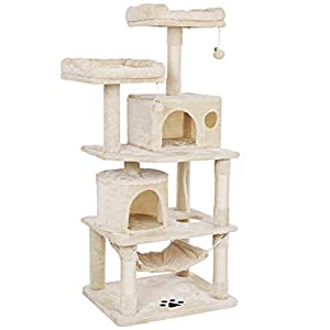 BEWISHOME Cat Tree with Sisal Scratching Posts, 2 Condos, Plush Perches, Jingly Balls and Hammock, Cat Condo Tower…