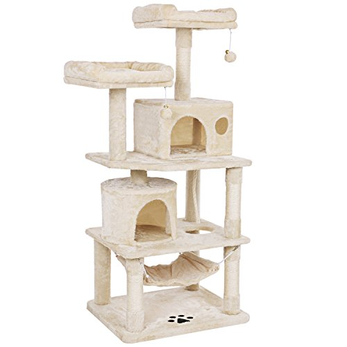 BEWISHOME Cat Tree with Sisal Scratching Posts, 2 Condos, Plush Perches, Jingly Balls and Hammock, Cat Condo Tower Furniture Kitty Kitten Activity Center Pet Play House Beige MMJ01M ()