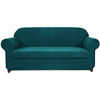 Genial Subrtex 2 Piece Spandex Stretch Slipcover (Sofa, Blue)