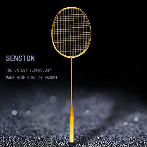 Senston N80-YT Jointless Badminton Racket Single High-Grade Badminton Racquet Carbon Fiber Badminton Racket Gold with Racket Cover and Overgrip by Senston (Image #1)