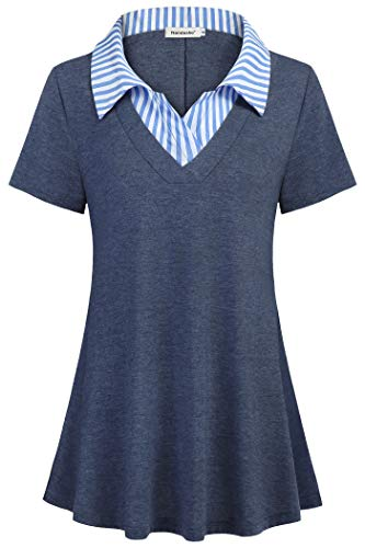 Nandashe Womens Dressy Blouses and Tops for Work, Misses Split V Neck Flowing Dress Shirts Trend Classy Comfortable Breathable Company Formal Flare Short-Sleeve Check Tunic Tops Navy Blue XLarge