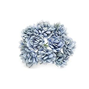 Savvi Jewels 2cm Blue Mulberry Paper Flowers with Wire Stems, Babys Breath Flowers, Mini Paper Flowers, Gypsophila Wedding Decoration Craft Flowers 50 Pieces 54