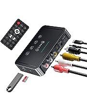 M6 NFC Bluetooth Zenderontvanger, POMME Bluetooth 5.0 FM Zender 3 in 1 Bluetooth Adapter 3,5 mm AUX/RCA Zenderontvanger Geschikt voor Alle Soorten Luidsprekers, TV, Computers en Auto TV Radio's