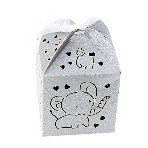 Baby Elephant Cut Out (Gray Elephant Cut-Out Baby Shower Favor Box Gift Pouch Bag 2x2x2 Inch Bulk 50 Pack Treat Candy Paper Boxes for Boy Girl 1st Birthday Christening Baptism Shower Party Nursery)