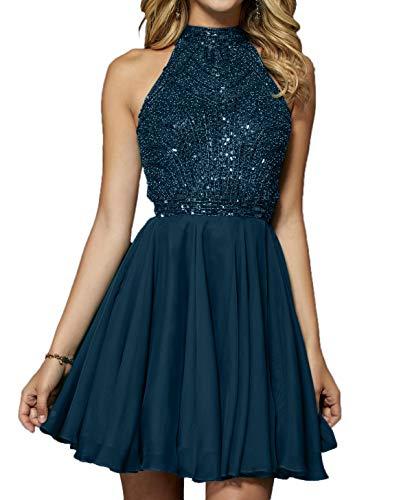 Sexy Pailletten Blau Ballkleider Partykleider Abendkleider Steine Damen mit Schulterfrei 2018 Dunkel Charmant Kleider q7w6EvHW