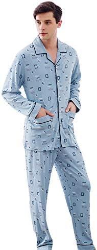 Pijamas Conjunto algodón para Hombre Solapa Manga Larga Ropa de ...