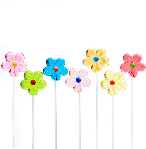Twinkle Pops Lollipop, Daisy Shapes (Pack of 120 Lollipops), 12 inch Long Lollipop Stem, Handcrafted in USA, 6 Vibrant Colors, Fruit Flavors, 37.80 Ounce by Sparko (Daisy Usa Bouquet)