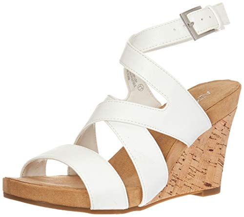 Aerosoles Women's SILVERPLUSH Sandal, White, 6 M US
