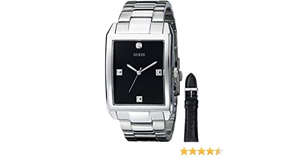Amazon.com: GUESS Mens U0282G1 Silver-Tone Interchangeable Strap Diamond Accented Dress Watch: Guess: Watches