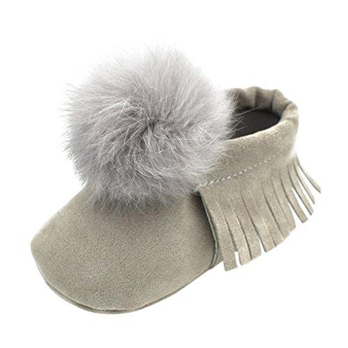 Vovotrade Ball Top Baby Kleinkinder Fransen Soft Schuhe (Size:6-9 Monate, Schwarz) Grau