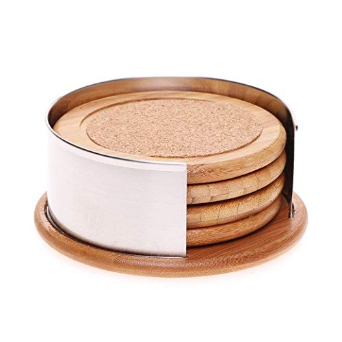 (CafeQuality 4 Piece Bamboo & Cork Coaster Set With Holder)