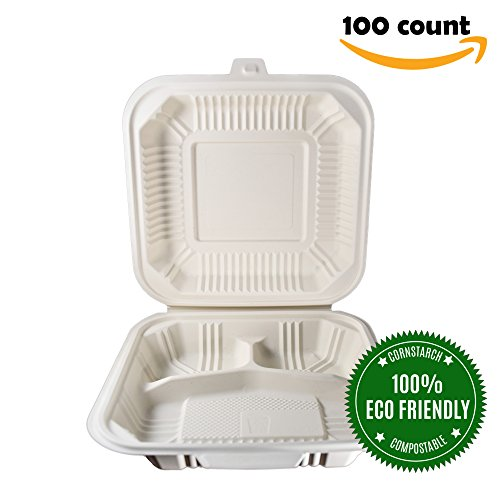 HeloGreen Eco-Friendly Compostable Takeout To-Go Food Containers Hinged Cornstarch Microwaveable Freezer Safe, Save The Environment, 8 x 8, 3-Compartment (100 Count) Ivory
