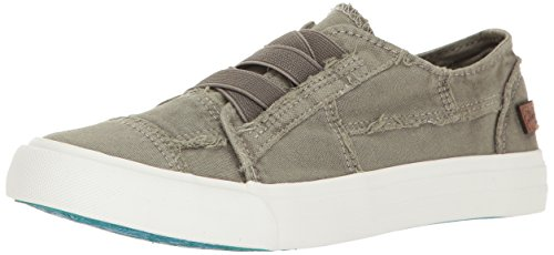 Blowfish Women's Marley Fashion Sneaker, Steel Grey Color Washed Canvas, 8 M US