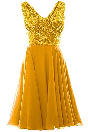 VIPbridal Mujeres cuello V gasa vestido de dama de honor corto vestido de noche formal Oro