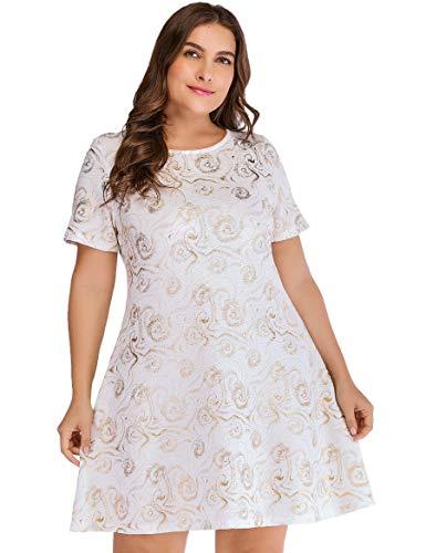OEUVRE Women's Summer Basic Long Sleeve Stretch Dress Plus Size Metallic Star Print Jersey WhiteGold 18W ()