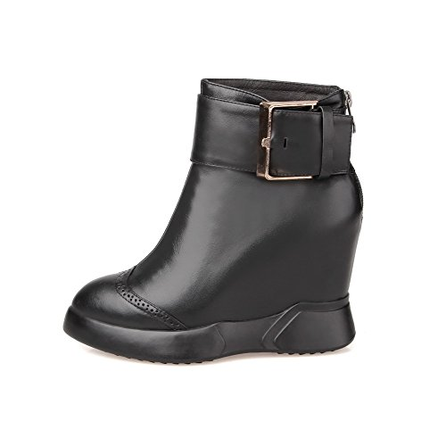 with Toe Toe Heels AmoonyFashion Thread High Black Women's Pointed Boots Buckles and Closed Metal IxSSq8gEw