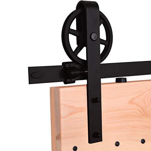 8ft Big Wheel Shape Sliding Barn Door Hardware Kit, Vintage Sliding Barn Door Closet Hardware Track System for Single Wooden Door