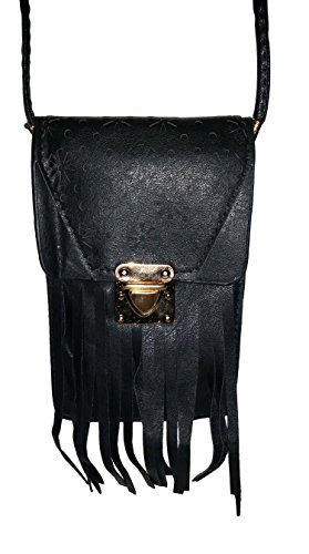 Fringed Laser Cut Pattern Swing Pouch Small Crossbody Bag (Black) - Leather Latch