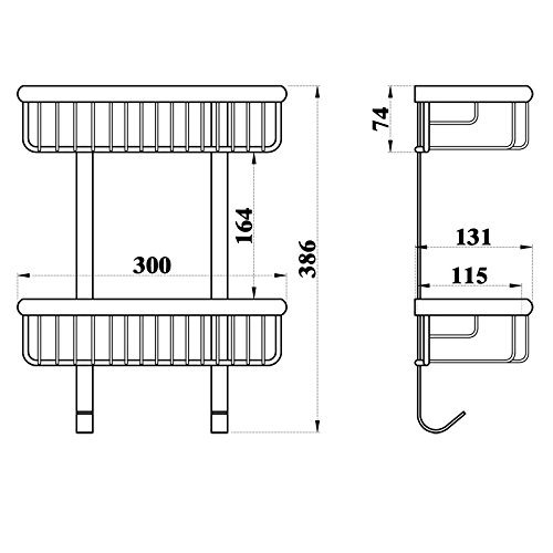 Wall Mount 2 Tiers Dual Rectangle Wire Baskets Bathroom Shower Caddies Cosmetic Storage Holder Shelf (polished brass Finish) by GUMA