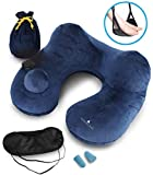 Yamsung Inflatable Neck Travel Pillow Set - Push-Button - Luxuriously Soft Velvet Washable Cover -Compact Packsack -Lightweight Perfect in Airplane. +Ergonomic Travel Foot Rest +Eye Mask +Ear Plugs.